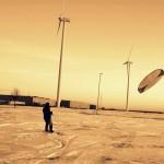 Snowkiten met open cel kite