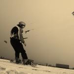 Snowkiting met tube-kite